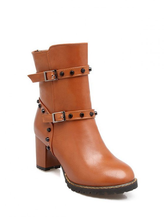 Buckle Straps Rivet Chunky Heel Boots - BROWN 39 Mobile