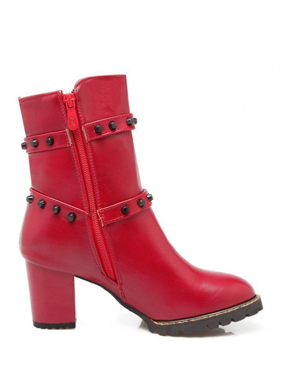 Buckle Straps Rivet Chunky Heel Boots - RED 38 Mobile