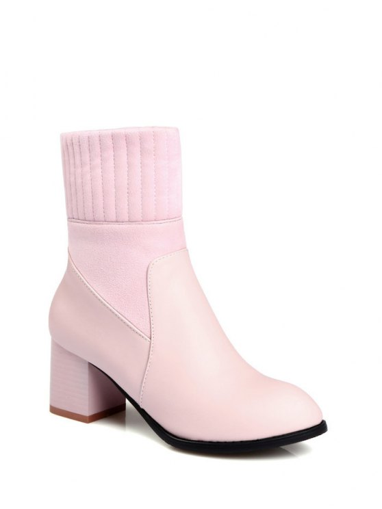 Suede Panel Chunky Heel Boots - PINK 37 Mobile