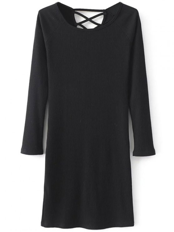 Strappy Long Sleeve Ribbed Sweater Dress - BLACK M Mobile