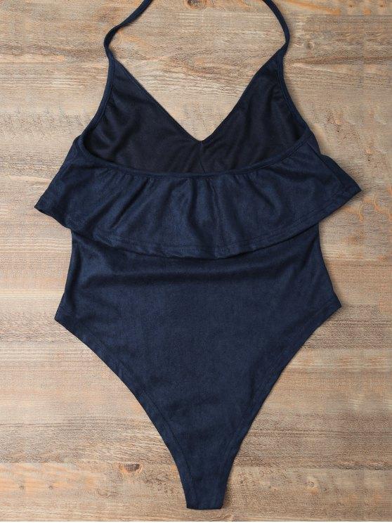 Halter Flounce Ruffles Bodysuit - DEEP BLUE S Mobile