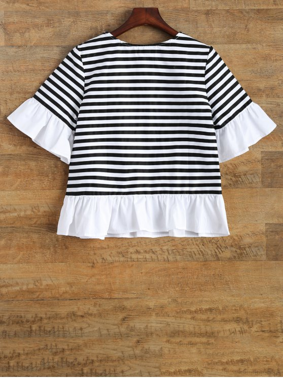 Ruffles Round Neck Striped T-Shirt - STRIPE 2XL Mobile