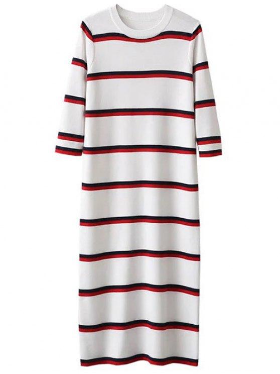 trendy Crew Neck Striped Jumper Dress - WHITE ONE SIZE