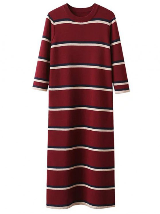 Crew Neck Striped Jumper Dress - BURGUNDY ONE SIZE Mobile