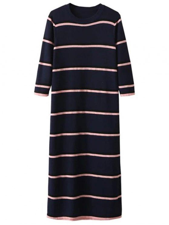 Crew Neck Striped Jumper Dress - PURPLISH BLUE ONE SIZE Mobile