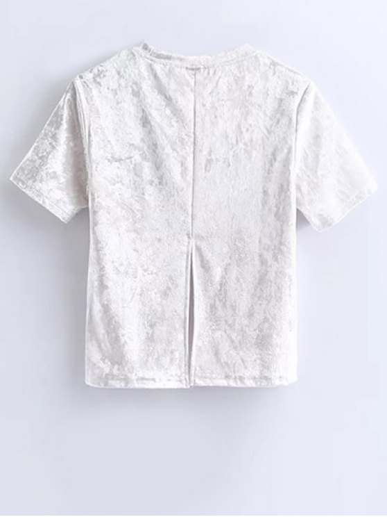 Short Sleeve Velvet Tee - WHITE S Mobile