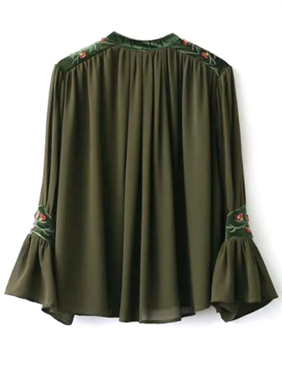 Embroidered Velvet Panel Blouse - ARMY GREEN S Mobile