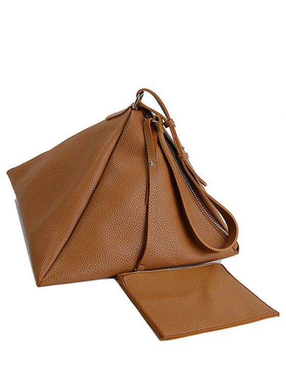 Triangle Shaped Textured Shoulder Bag - BROWN  Mobile