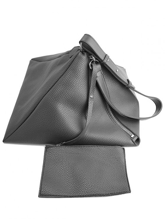 Triangle Shaped Textured Shoulder Bag - GRAY  Mobile