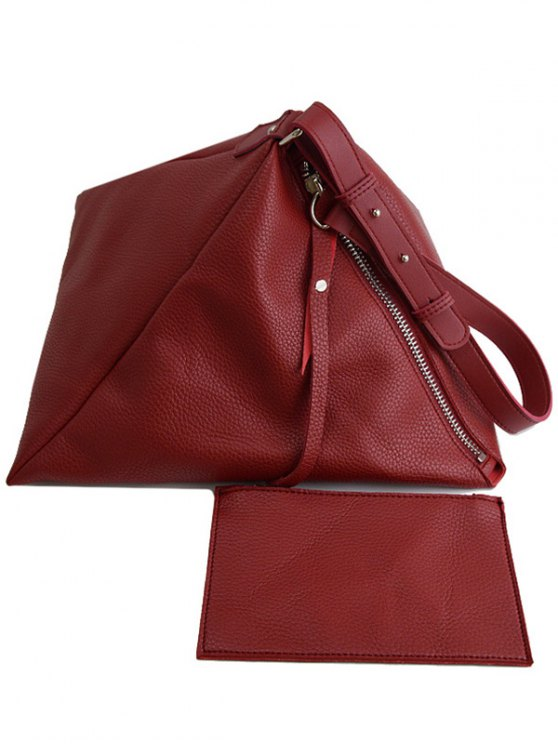 Triangle Shaped Textured Shoulder Bag - RED  Mobile