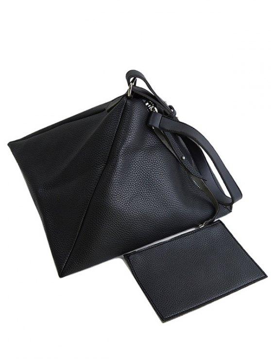 Triangle Shaped Textured Shoulder Bag - BLACK  Mobile