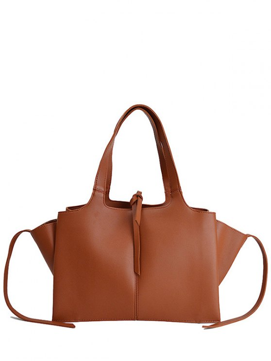 Straps PU Leather Winged Handbag - BROWN  Mobile