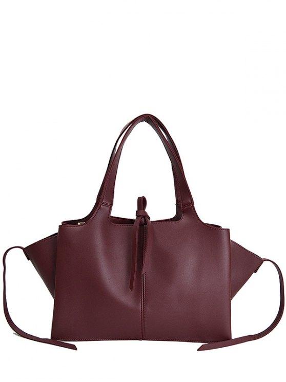 Straps PU Leather Winged Handbag - CLARET  Mobile
