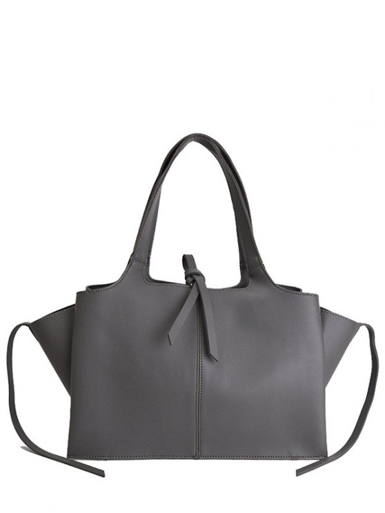 Straps PU Leather Winged Handbag - GRAY  Mobile
