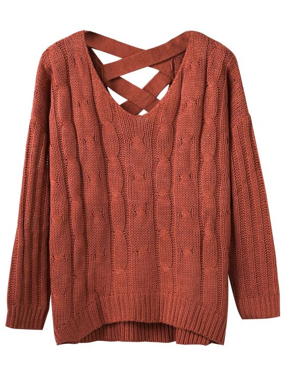 sale Cable Knit V Neck Chunky Sweater - SPICE ONE SIZE