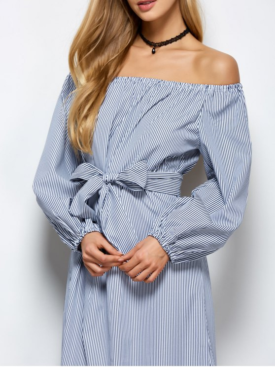 Striped Off Shoulder Side Slit Dress - STRIPE S Mobile