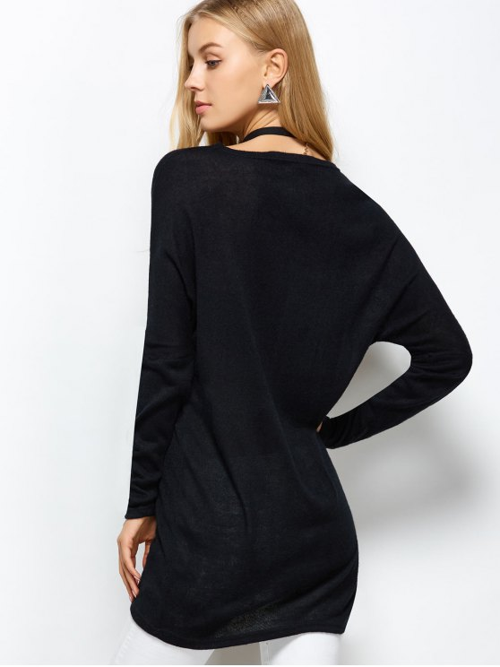V Neck Batwing Sleeve Sweater - BLACK M Mobile
