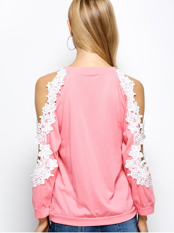 Cold Shoulder Lace Splicing T-Shirt - PINK XL Mobile