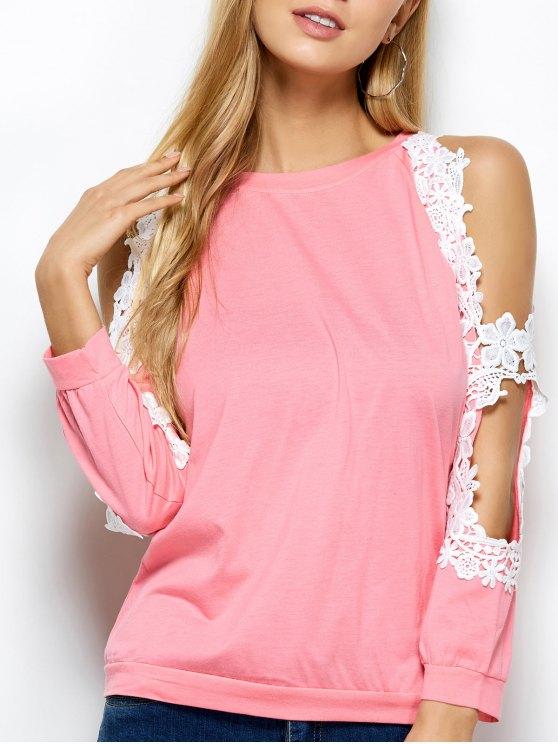 Cold Shoulder Lace Splicing T-Shirt - PINK L Mobile