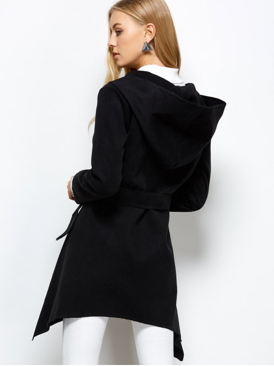 Hooded Asymmetric Wrap Coat - BLACK M Mobile
