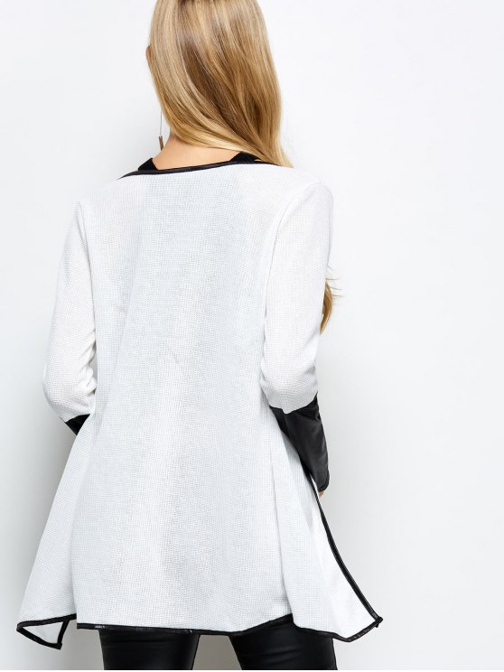 PU Leather Insert Long Sleeve Cardigan - WHITE S Mobile