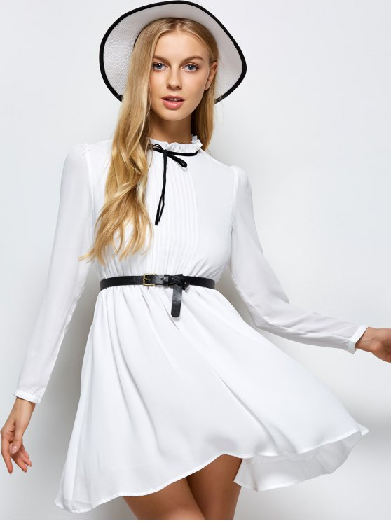 Ruff Collar Pleated Chiffon Dress - WHITE 2XL Mobile