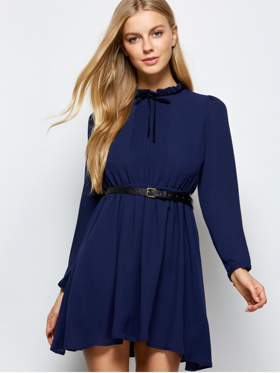 Ruff Collar Pleated Chiffon Dress - DEEP BLUE L Mobile