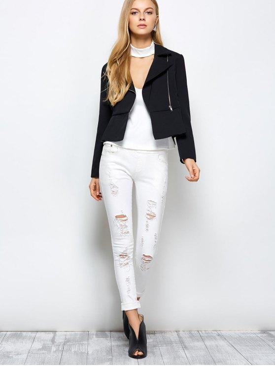 Zipper Asymmetric Peplum Blazer - BLACK M Mobile