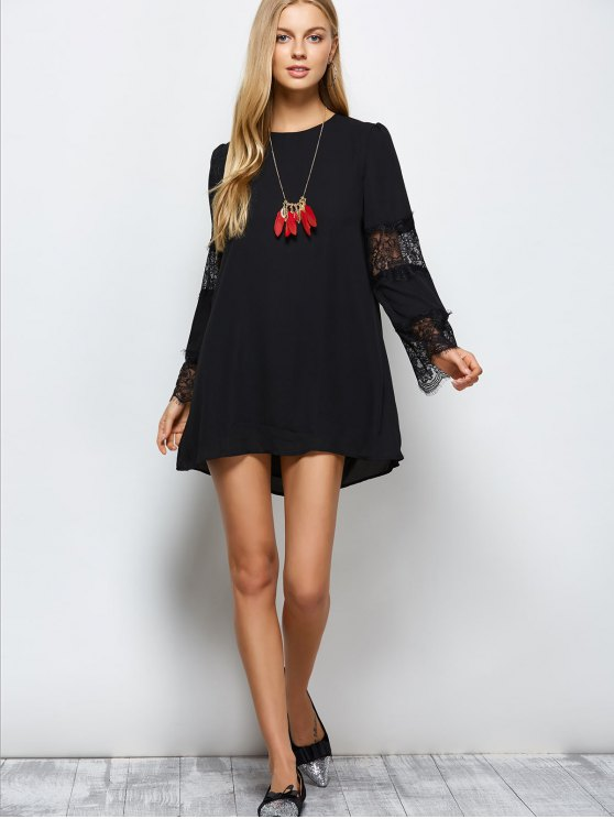 Long Sleeve Lace Panel Chiffon Shift Dress - BLACK 2XL Mobile