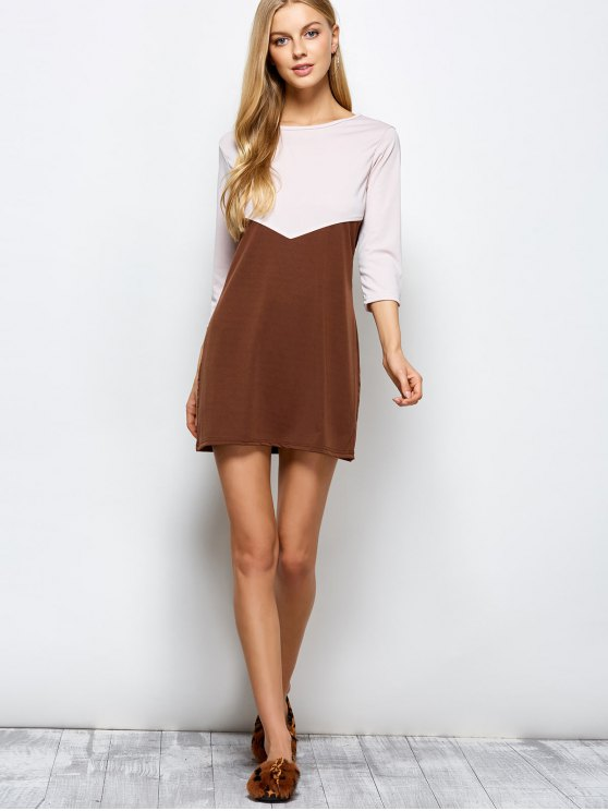 Two Tone Panel Dress - COFFEE WITH KHAKI M Mobile