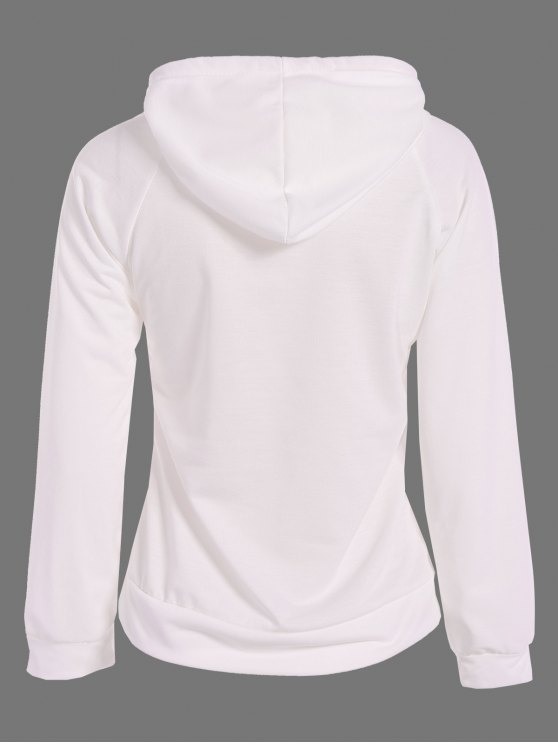 Sequined Drawstring Hoodie - WHITE M Mobile