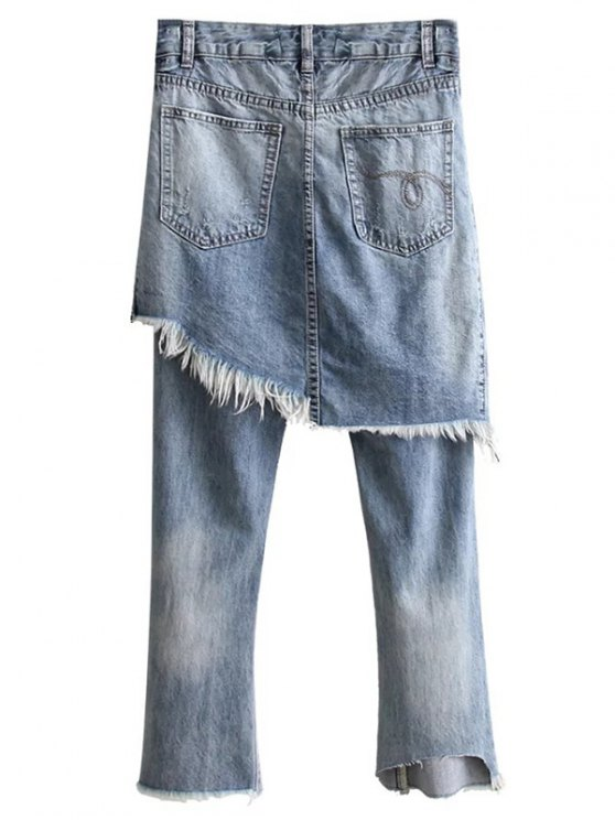 Ripped Skirted Jeans - DENIM BLUE L Mobile