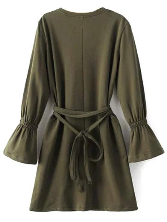 Flare Sleeve Round Neck Self Tie Dress - ARMY GREEN M Mobile
