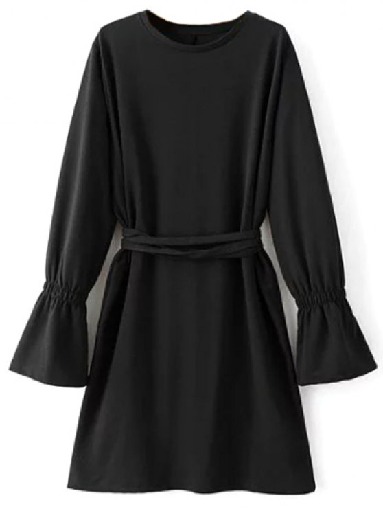 Flare Sleeve Round Neck Self Tie Dress - BLACK M Mobile