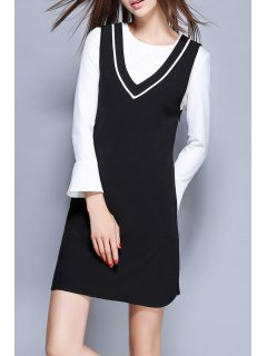 Mini Dress With Flare Sleeve T-Shirt - White And Black S