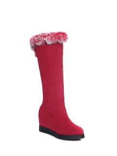 Mid Calf Hidden Wedge Furry Boots - Red