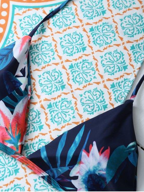 fancy Flower Halter Bikini Set - BLUE L Mobile