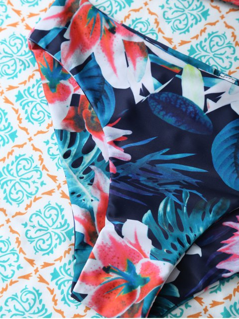 sale Flower Halter Bikini Set - BLUE S Mobile