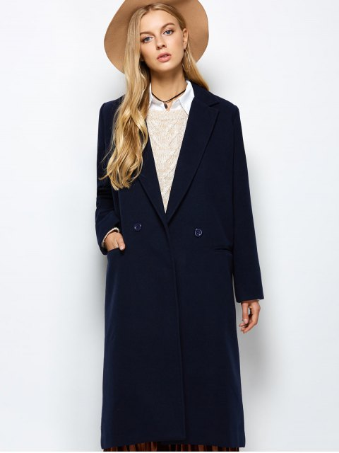 online Laple Collar Maxi Coat - PURPLISH BLUE XL Mobile