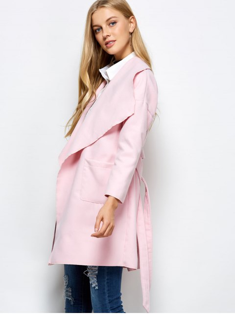 latest Wrap Woolen Coat With Pockets - PINK L Mobile