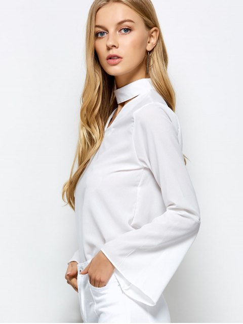 online Loose Choker Flare Sleeve Blouse - WHITE L Mobile