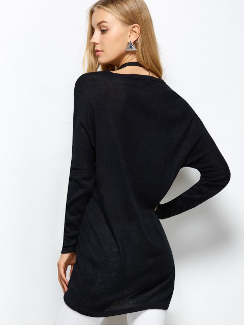 shop V Neck Batwing Sleeve Sweater - BLACK L Mobile