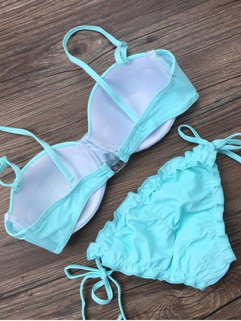 chic Cami String Ruffles Bikini Set - LIGHT BLUE XL Mobile