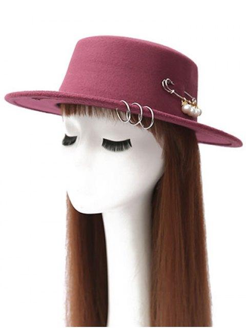 fancy Circle Hoop Faux Pearl Embellished Hat - WINE RED  Mobile