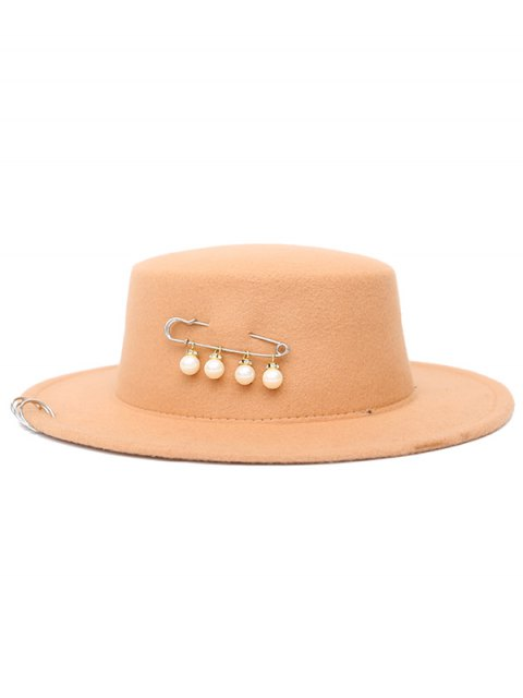 affordable Circle Hoop Faux Pearl Embellished Hat - BEIGE  Mobile