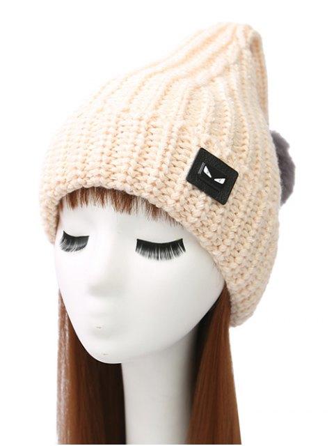 women Demon Label Flanging Knit Hat - BEIGE  Mobile