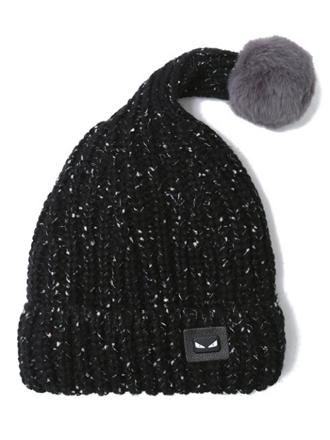 ladies Demon Label Flanging Knit Hat - BLACK  Mobile