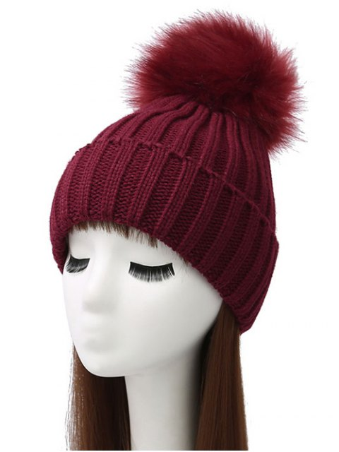 online Flanging Pom Ball Knitted Beanie - WINE RED  Mobile