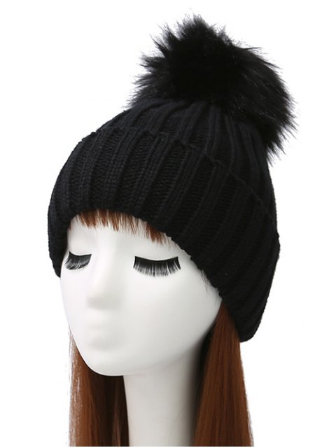 new Flanging Pom Ball Knitted Beanie - BLACK  Mobile