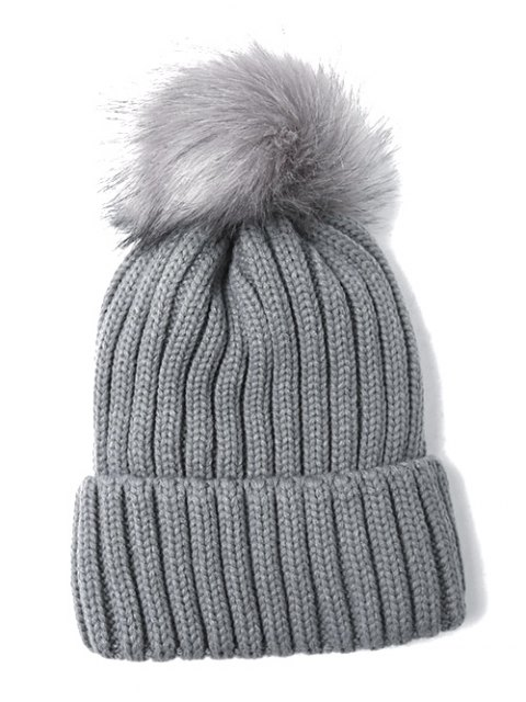 hot Flanging Pom Ball Knitted Beanie -   Mobile